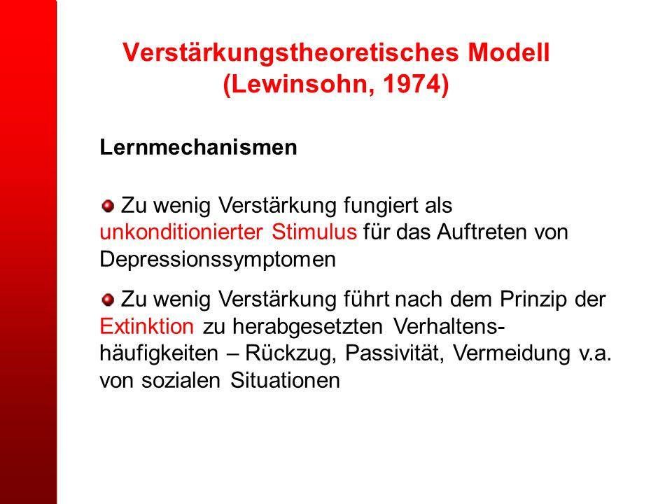 Verstärkungstheoretisches Modell (Lewinsohn, 1974)