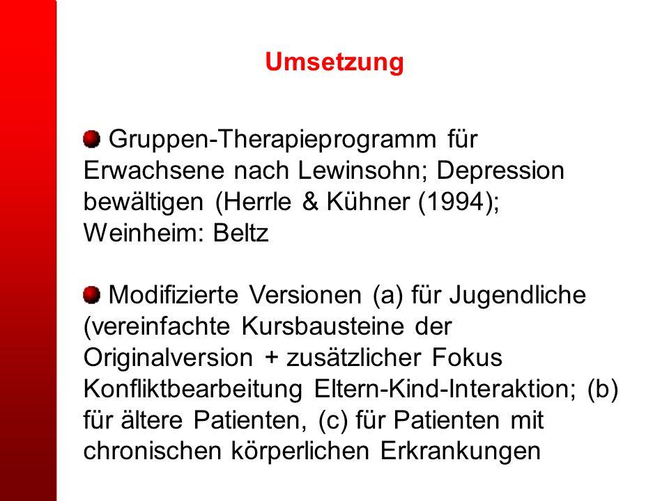 Umsetzung Gruppen-Therapieprogramm für Erwachsene nach Lewinsohn; Depression bewältigen (Herrle & Kühner (1994); Weinheim: Beltz.