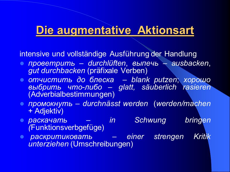 Die augmentative Aktionsart