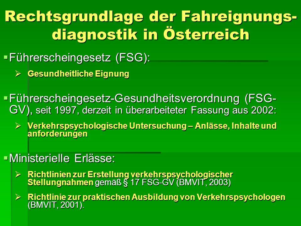 Rechtsgrundlage der Fahreignungs-diagnostik in Österreich