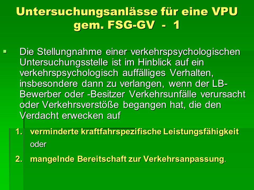 Untersuchungsanlässe für eine VPU gem. FSG-GV - 1