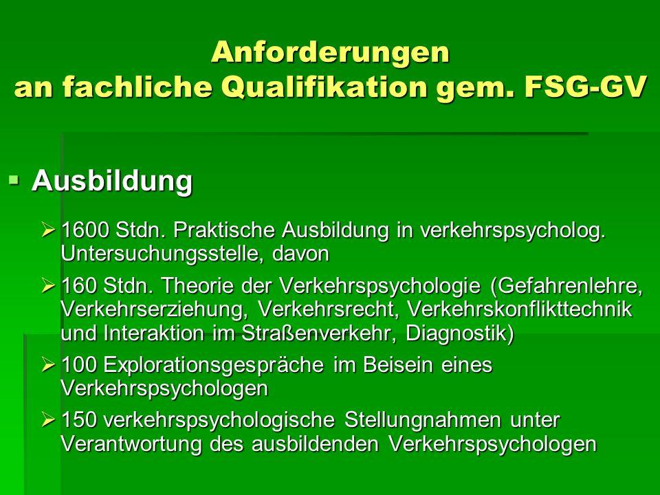 Anforderungen an fachliche Qualifikation gem. FSG-GV