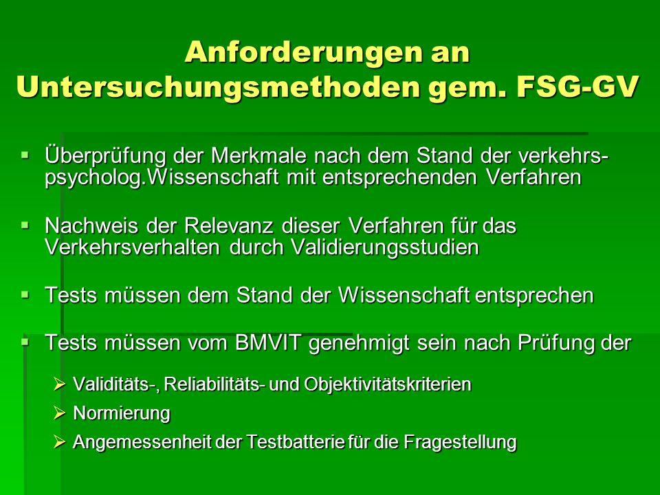 Anforderungen an Untersuchungsmethoden gem. FSG-GV