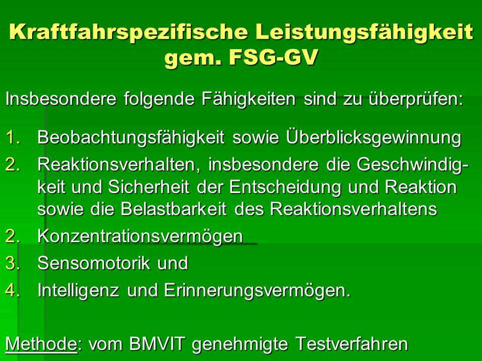Kraftfahrspezifische Leistungsfähigkeit gem. FSG-GV