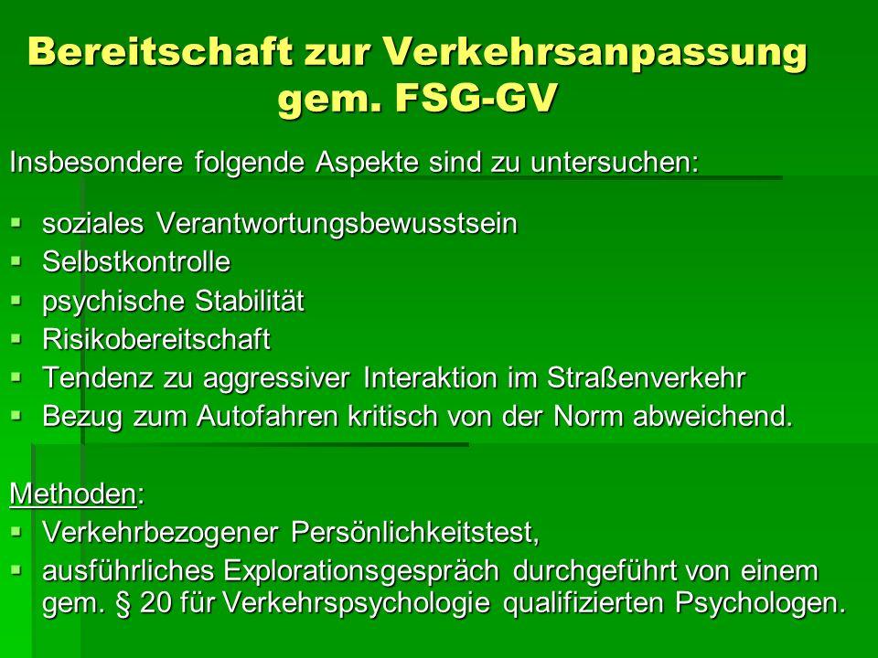 Bereitschaft zur Verkehrsanpassung gem. FSG-GV