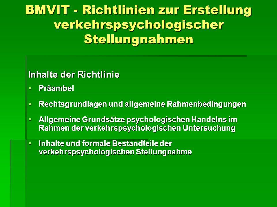 BMVIT - Richtlinien zur Erstellung verkehrspsychologischer Stellungnahmen