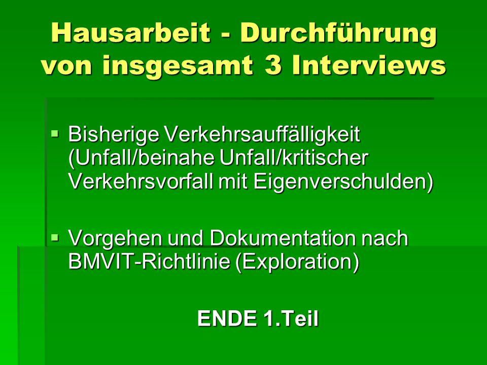Hausarbeit - Durchführung von insgesamt 3 Interviews