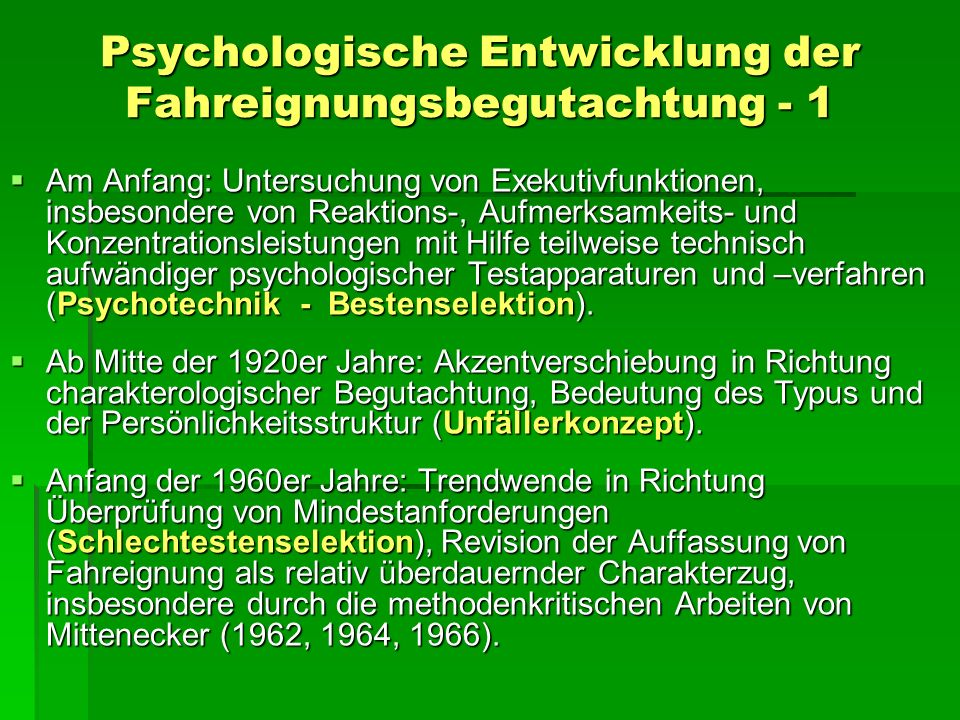 Psychologische Entwicklung der Fahreignungsbegutachtung - 1