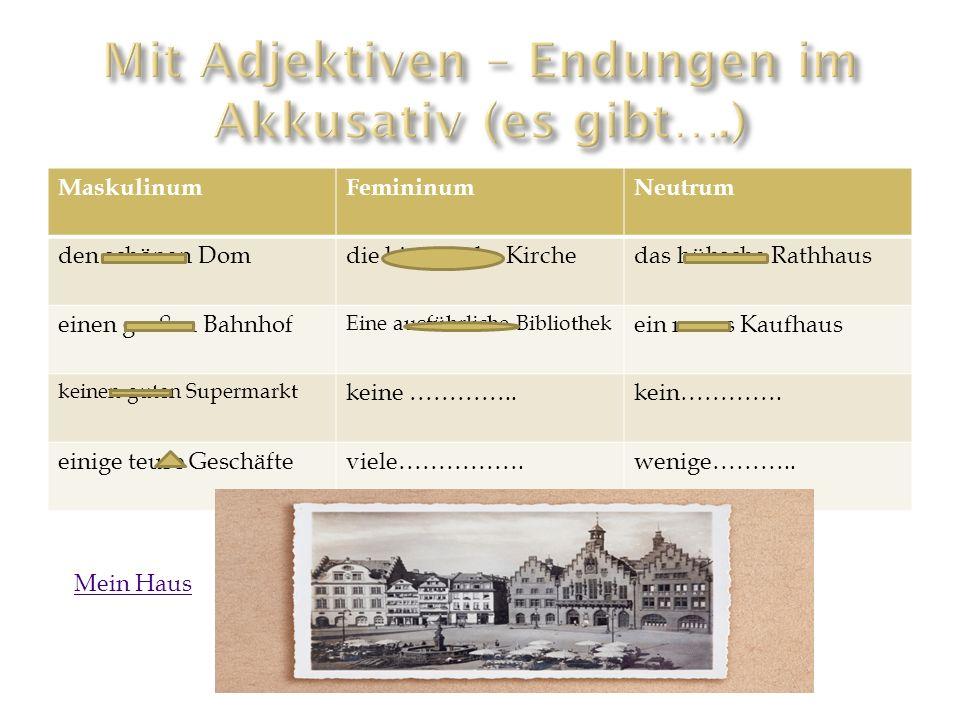 Mit Adjektiven – Endungen im Akkusativ (es gibt….)