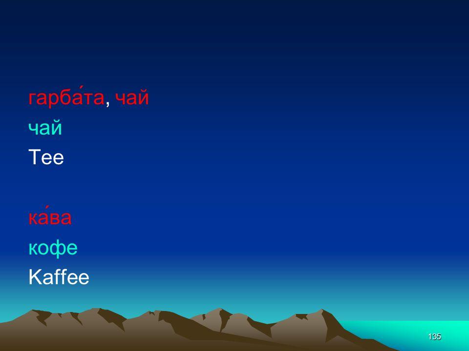гарба́та, чай чай Tee ка́ва кофе Kaffee