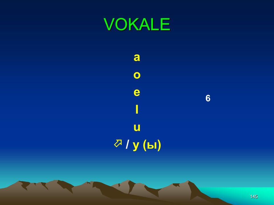 VOKALE a o e I u  / y (ы) 6