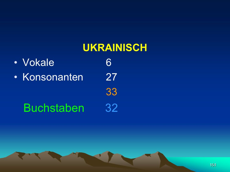 UKRAINISCH Vokale 6 Konsonanten 27 33 Buchstaben 32