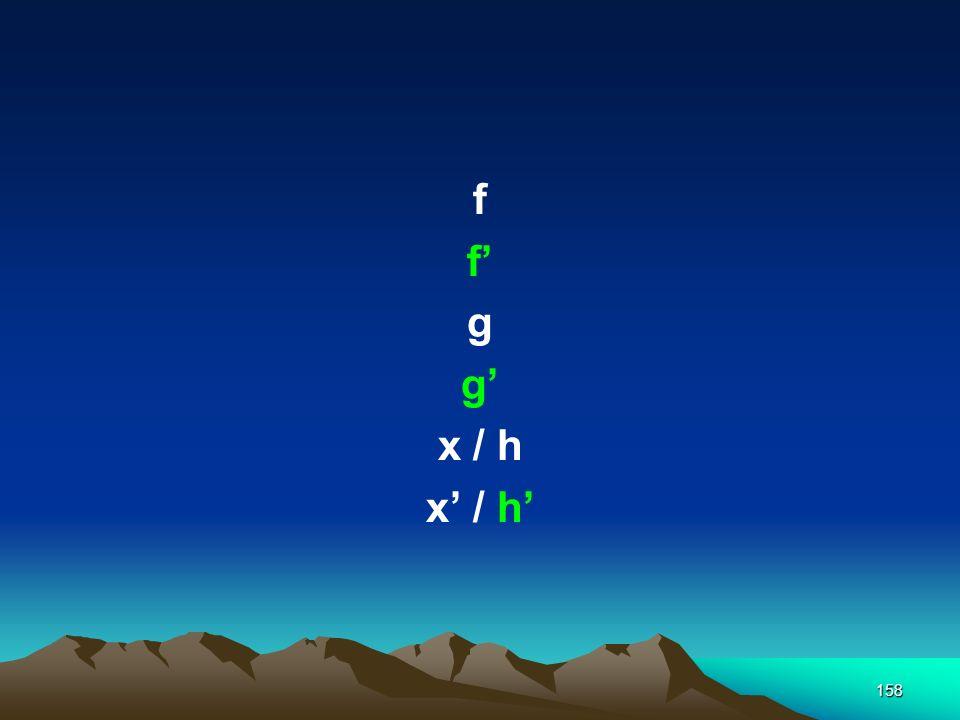 f f' g g' x / h x' / h'