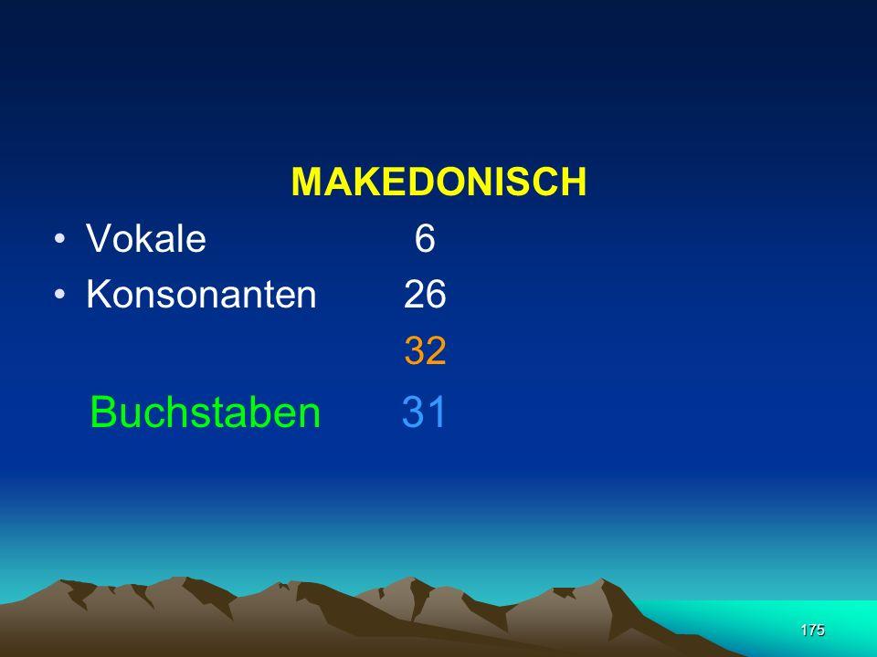 MAKEDONISCH Vokale 6 Konsonanten 26 32 Buchstaben 31