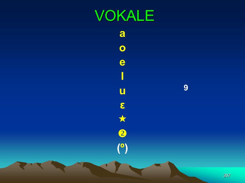 VOKALE a o e I u ε   (º) 9