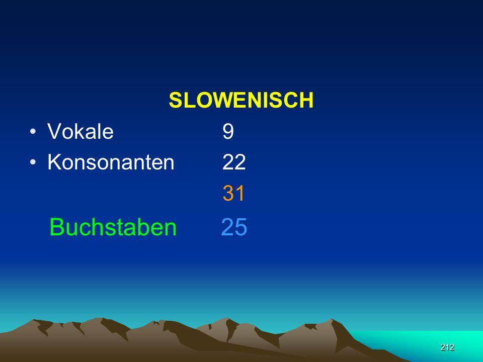 SLOWENISCH Vokale 9 Konsonanten 22 31 Buchstaben 25