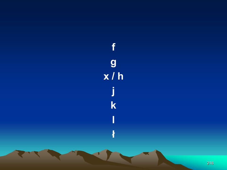 f g x / h j k l ł
