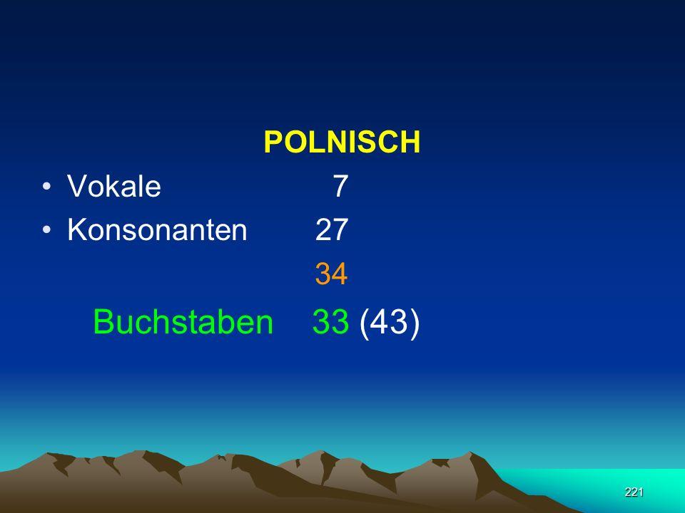 POLNISCH Vokale 7 Konsonanten 27 34 Buchstaben 33 (43)