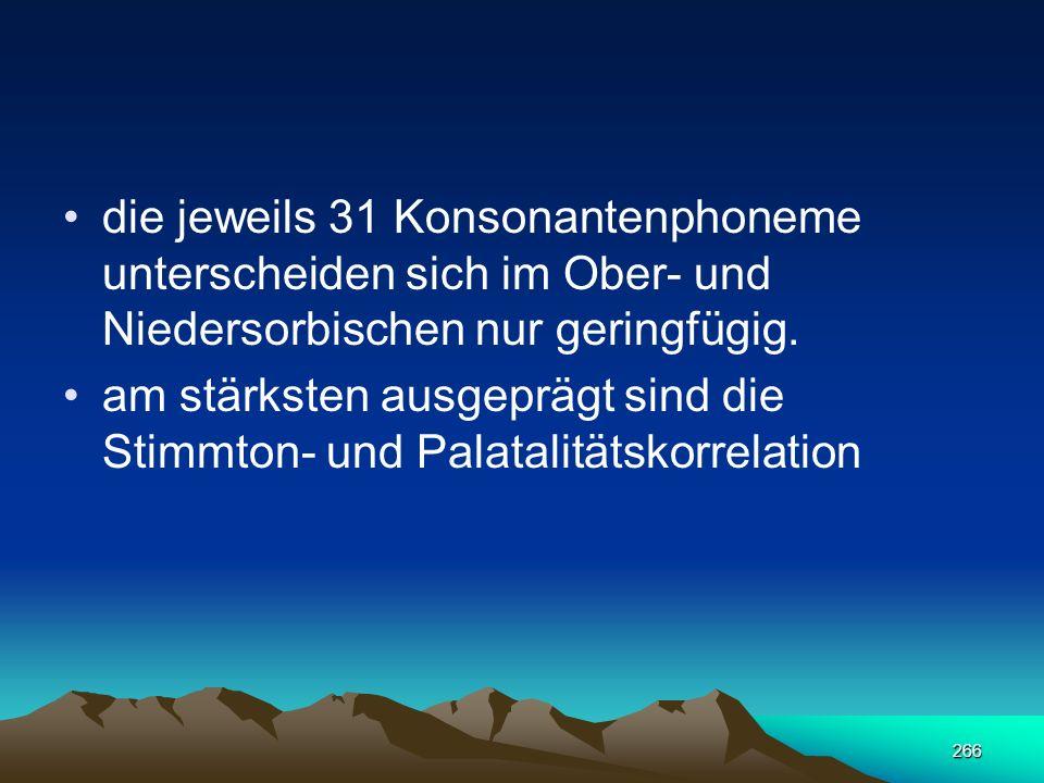 die jeweils 31 Konsonantenphoneme unterscheiden sich im Ober- und Niedersorbischen nur geringfügig.