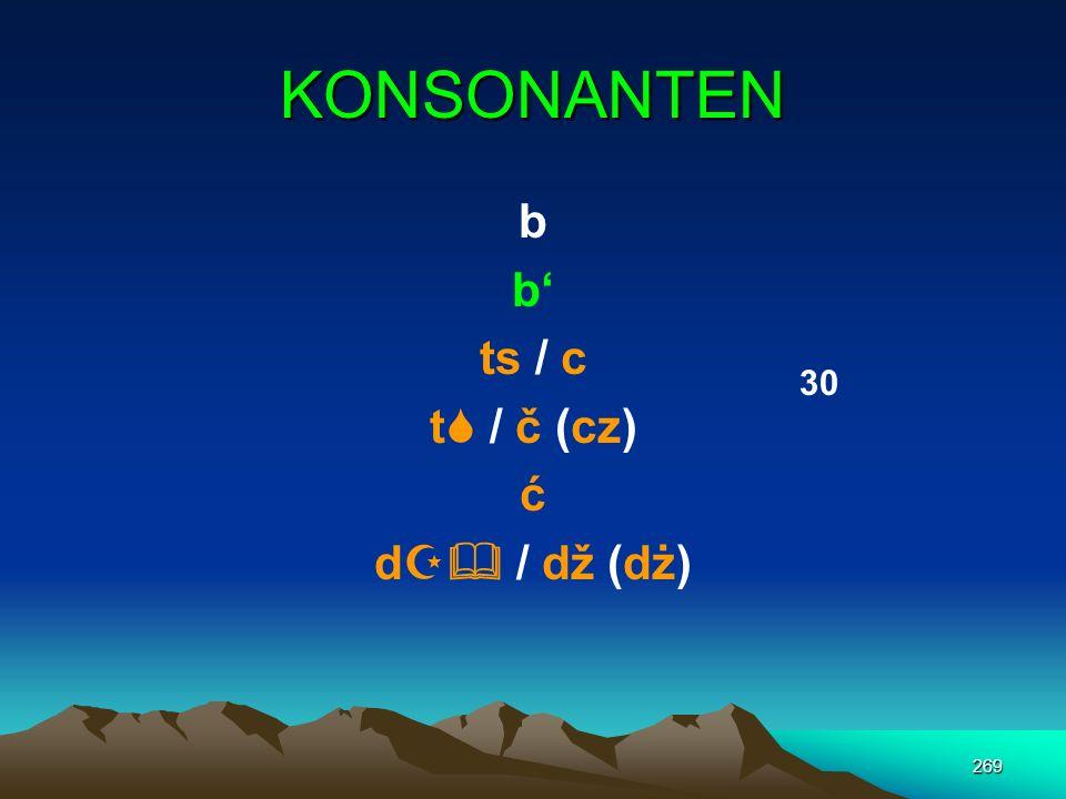 KONSONANTEN b b' ts / c t / č (cz) ć d / dž (dż) 30