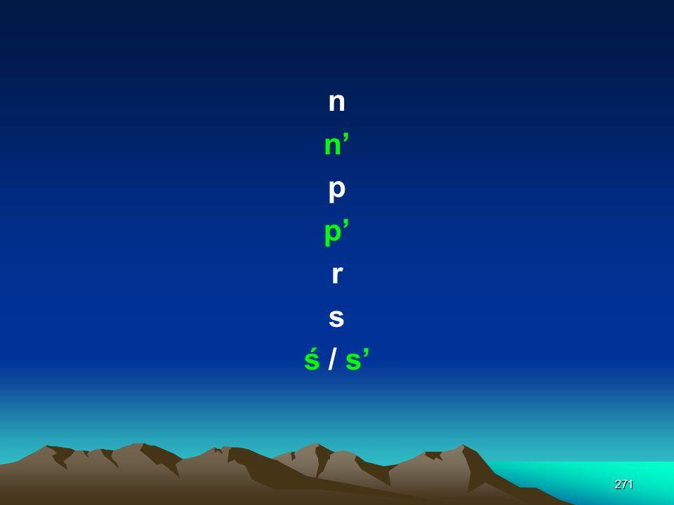 n n' p p' r s ś / s'