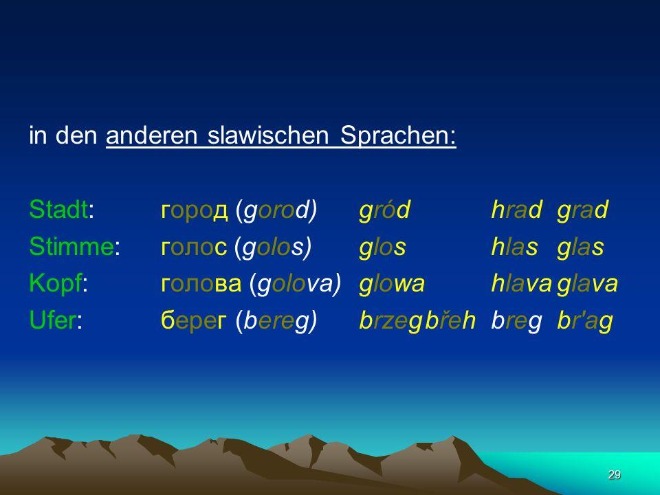 in den anderen slawischen Sprachen: