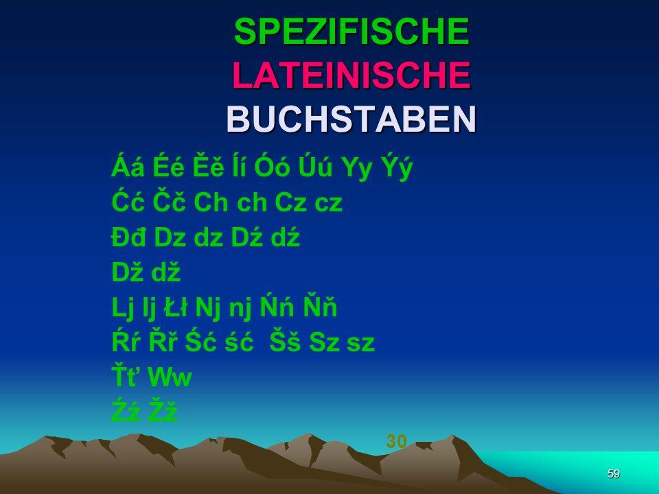 SPEZIFISCHE LATEINISCHE BUCHSTABEN