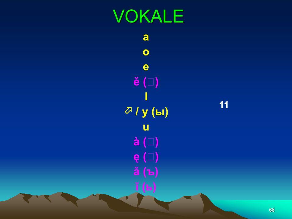 VOKALE a o e ě () I  / y (ы) u à () ę () ǎ (ъ) ĭ (ь) 11
