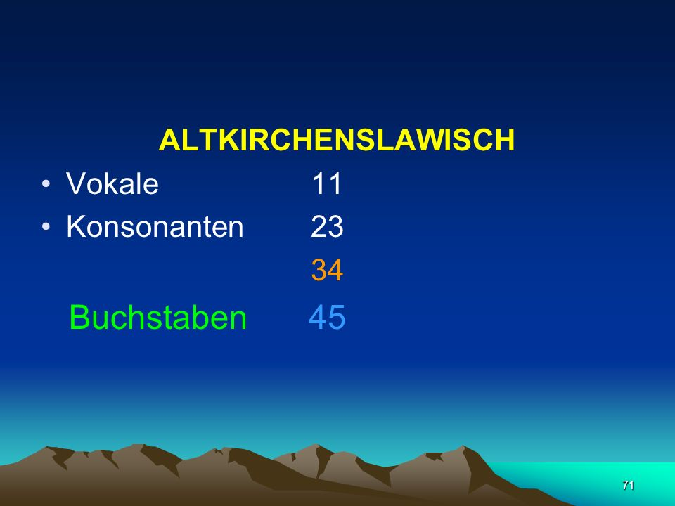 ALTKIRCHENSLAWISCH Vokale 11 Konsonanten 23 34 Buchstaben 45