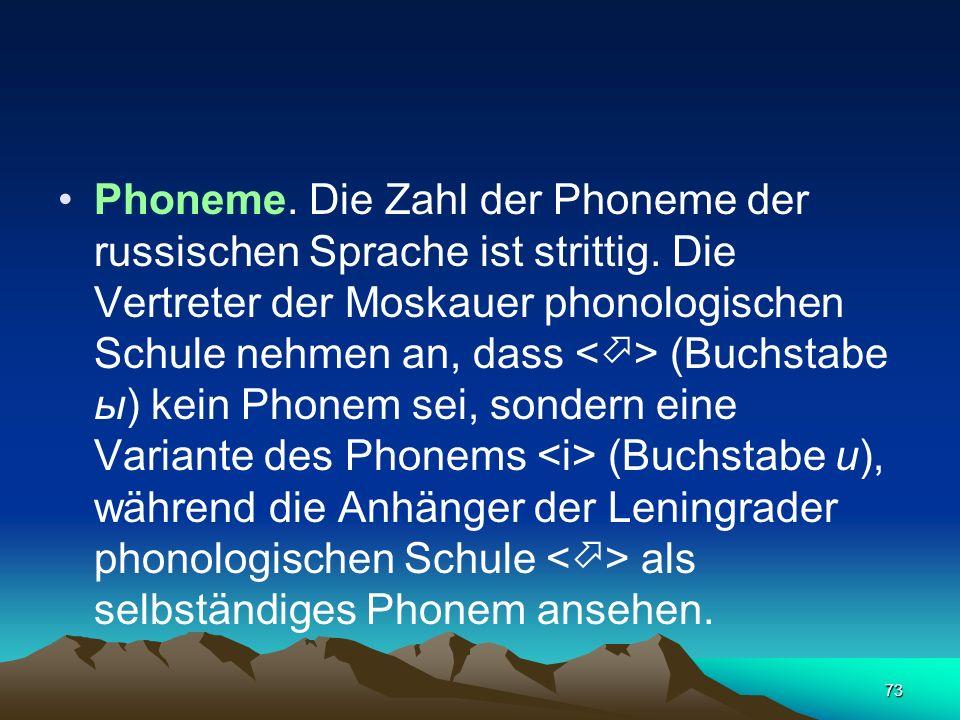 Phoneme. Die Zahl der Phoneme der russischen Sprache ist strittig