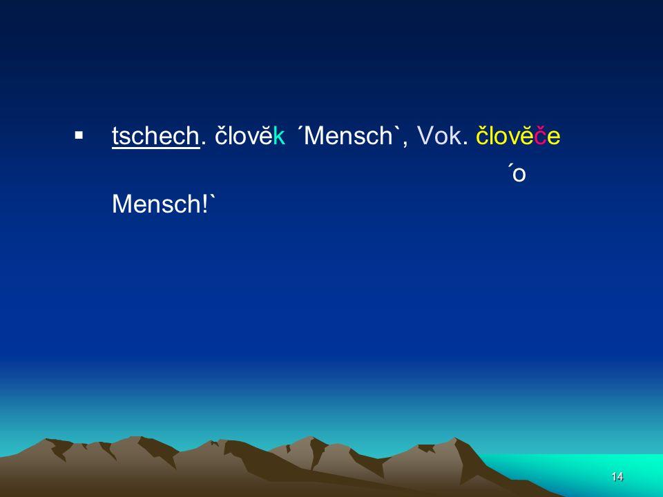 tschech. človĕk ´Mensch`, Vok. človĕče