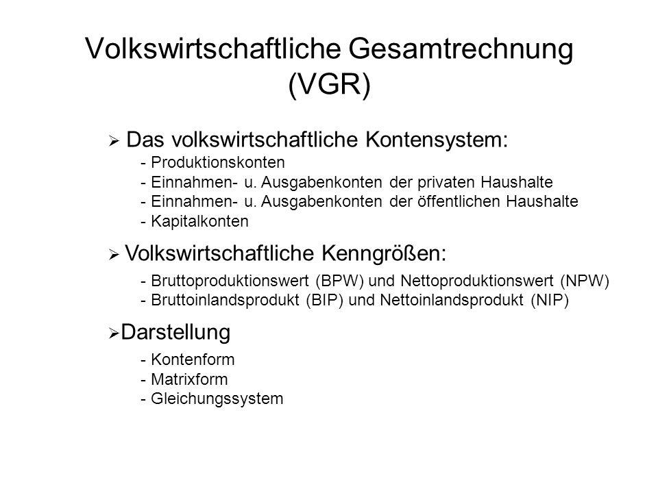 Volkswirtschaftliche Gesamtrechnung (VGR)