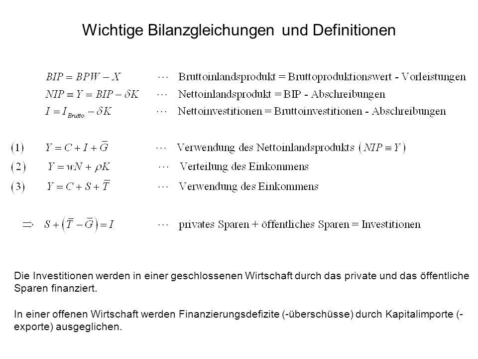 Wichtige Bilanzgleichungen und Definitionen