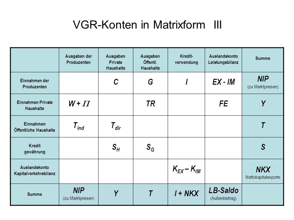 VGR-Konten in Matrixform III