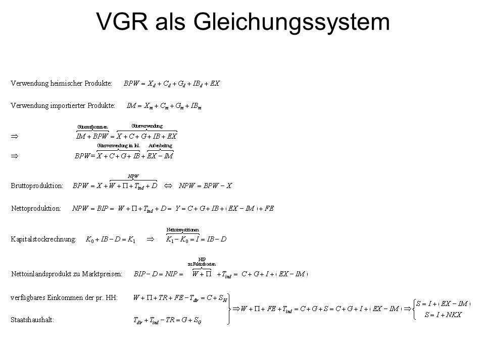 VGR als Gleichungssystem
