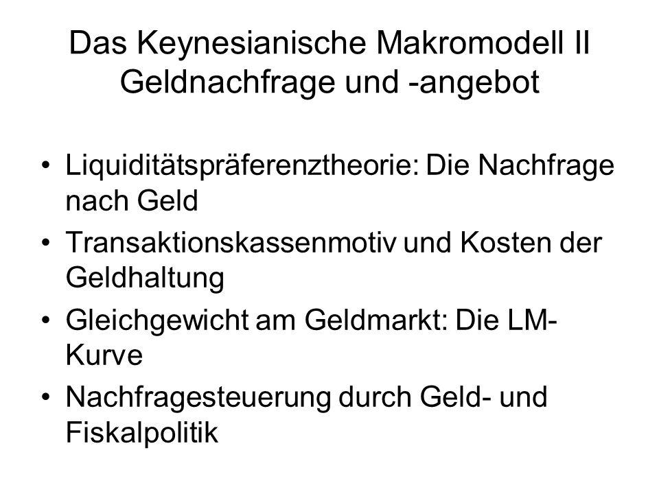 Das Keynesianische Makromodell II Geldnachfrage und -angebot