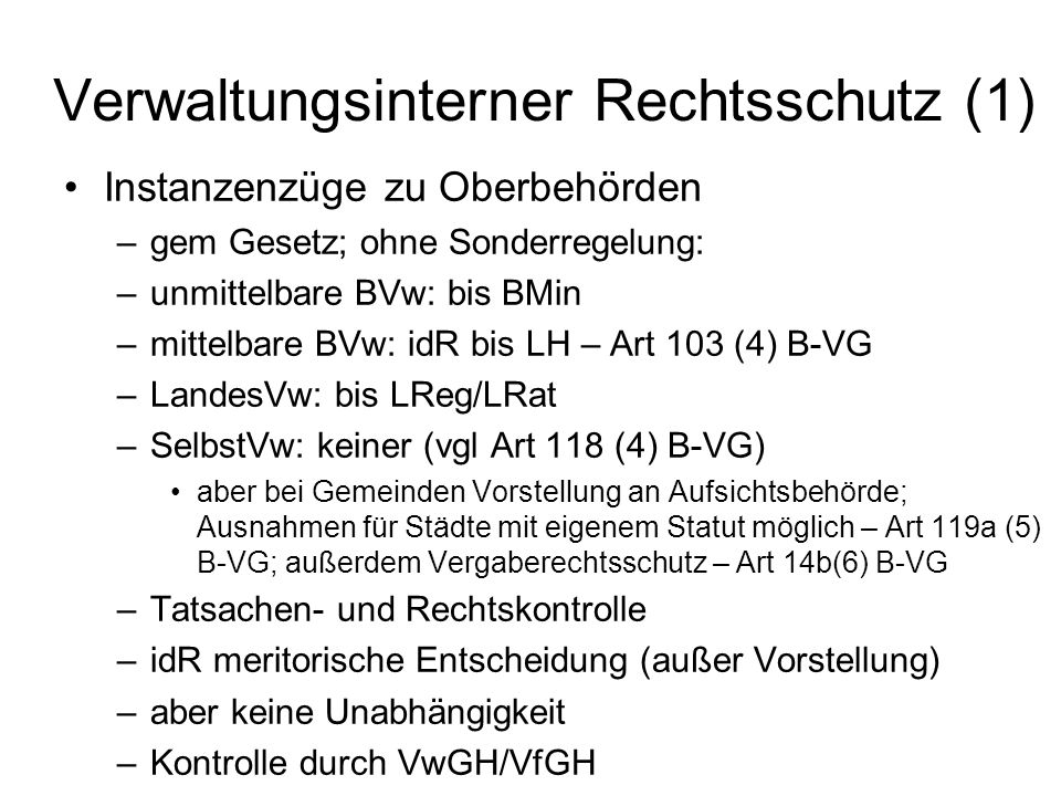 Verwaltungsinterner Rechtsschutz (1)