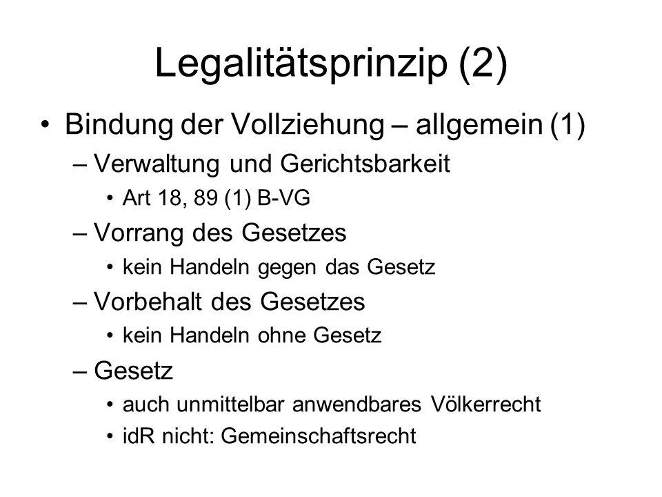 Legalitätsprinzip (2) Bindung der Vollziehung – allgemein (1)