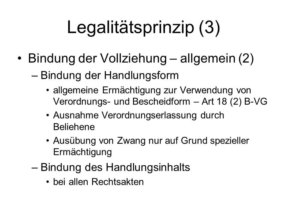 Legalitätsprinzip (3) Bindung der Vollziehung – allgemein (2)