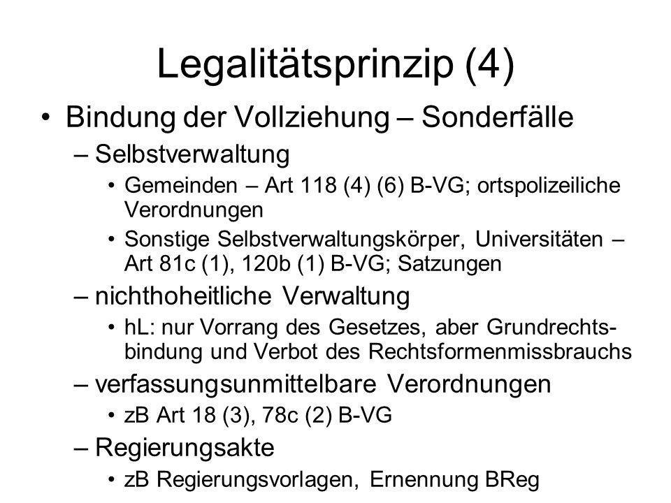 Legalitätsprinzip (4) Bindung der Vollziehung – Sonderfälle