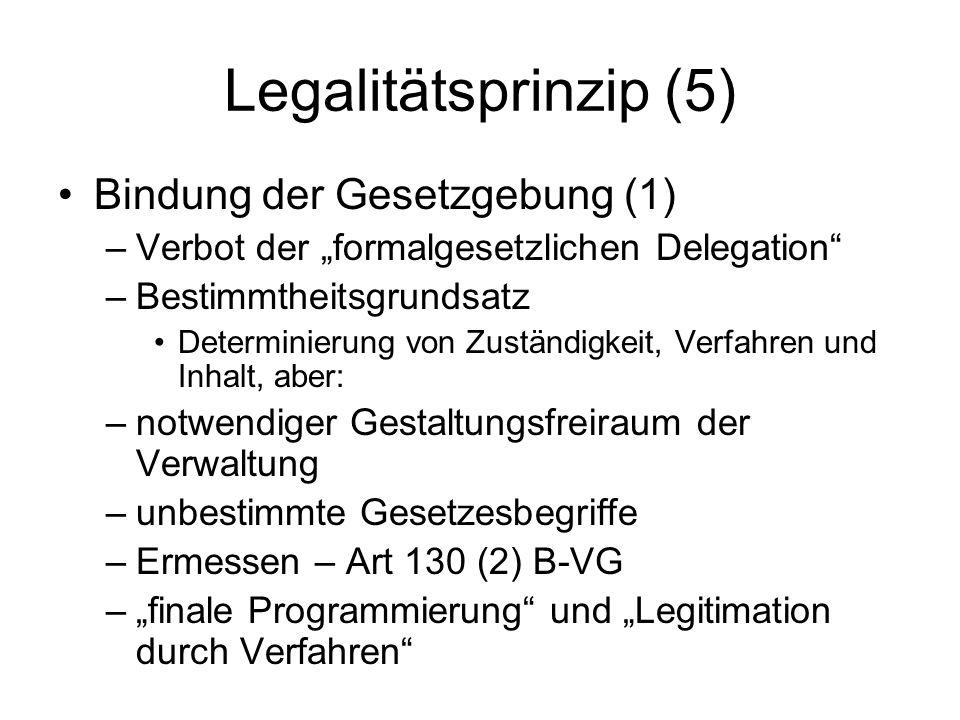 Legalitätsprinzip (5) Bindung der Gesetzgebung (1)