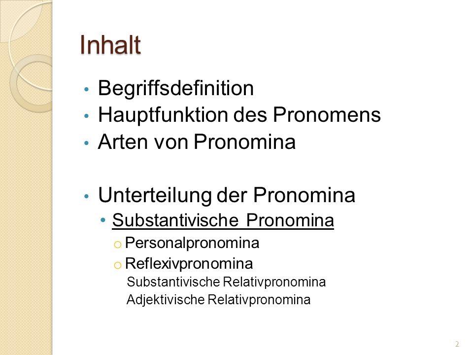 Inhalt Begriffsdefinition Hauptfunktion des Pronomens