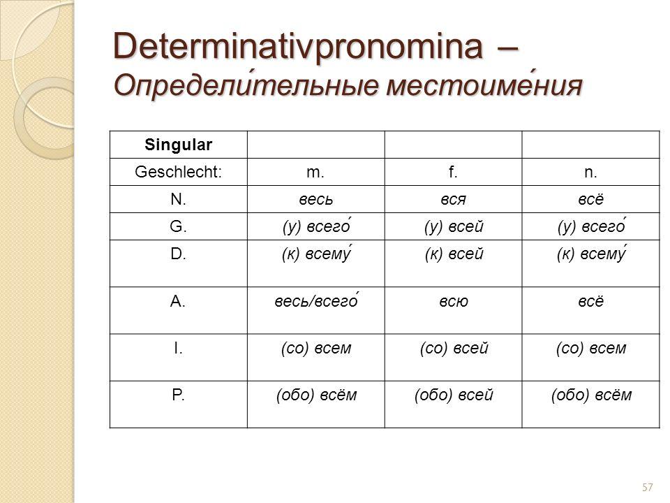 Determinativpronomina – Определи́тельные местоиме́ния