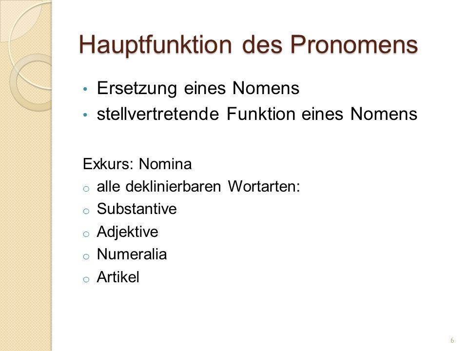 Hauptfunktion des Pronomens
