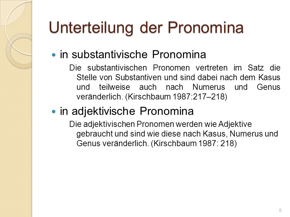 Unterteilung der Pronomina