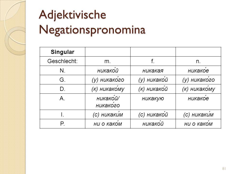 Adjektivische Negationspronomina