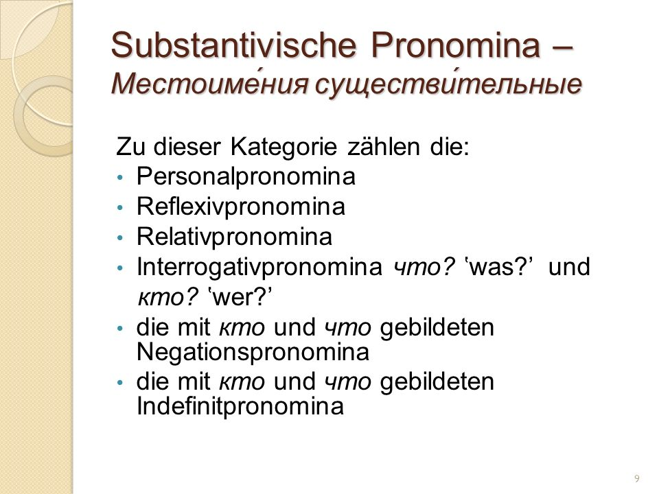 Substantivische Pronomina – Местоиме́ния существи́тельные