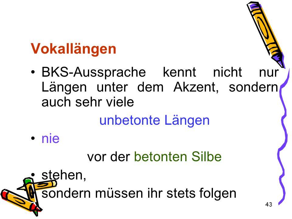 Vokallängen BKS-Aussprache kennt nicht nur Längen unter dem Akzent, sondern auch sehr viele. unbetonte Längen.