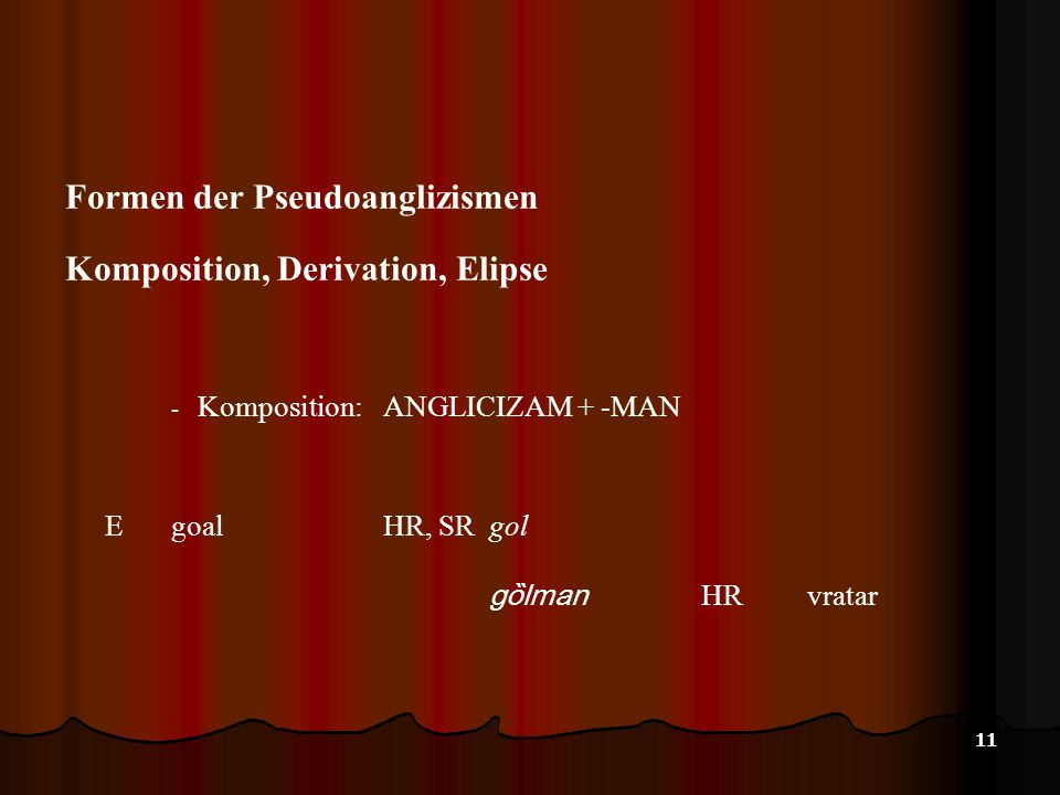 Formen der Pseudoanglizismen Komposition, Derivation, Elipse