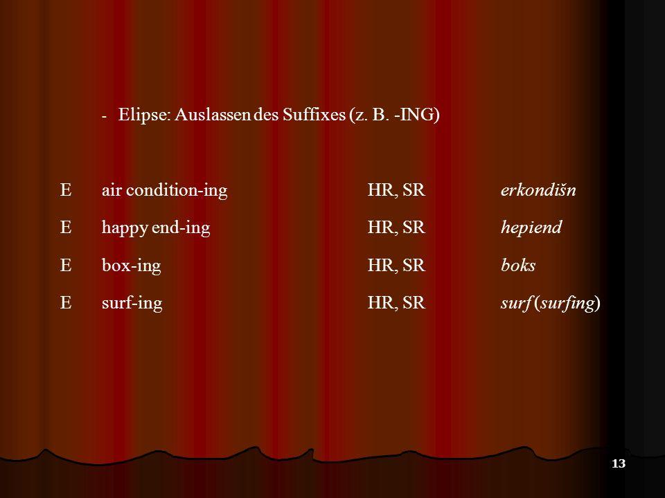 Elipse: Auslassen des Suffixes (z. B. -ING)